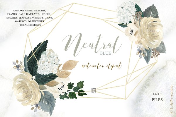 Neutral  flowers Watercolor clipar…