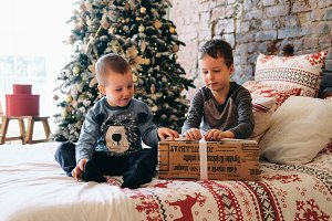 Christmas happy funny brothers