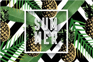 summer pineapple template vector