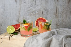 Cocktail of grapefruit and   basil
