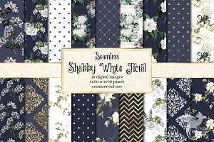 Shabby White Floral Patterns