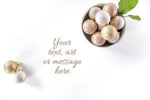 Gold Flatlay 1 - Holiday Stock Photo