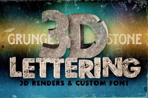 Stone - 3D Lettering + Font