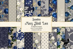 Navy Floral Lace Digital Paper
