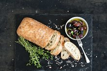 Italian ciabatta bread cut in slices