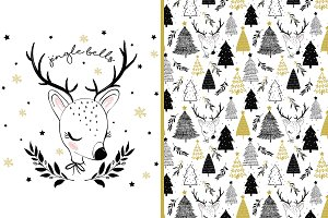 Cute deer vector. Chrismas pattern.