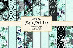 Aqua Floral Lace Digital Paper