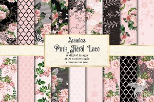 Pink Floral Lace Digital Paper