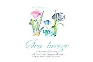Sea Breeze. Watercolor set