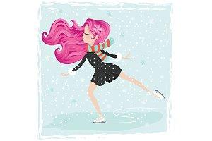 ice skating girl.Christmas postcard.