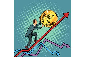 businessman roll a euro coin up