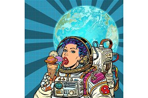 Woman astronaut eats planets of the