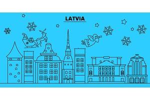 Latvia winter holidays skyline