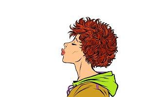 woman kiss, profile view. Girls 80s