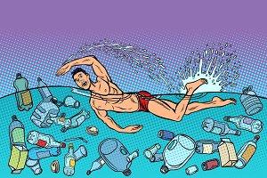 swimmer at sea. ocean pollution