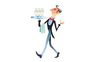 waiter carries champagne