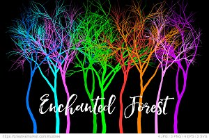 Enchanted forest, 9 trees, vector