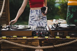girl playing vinyl