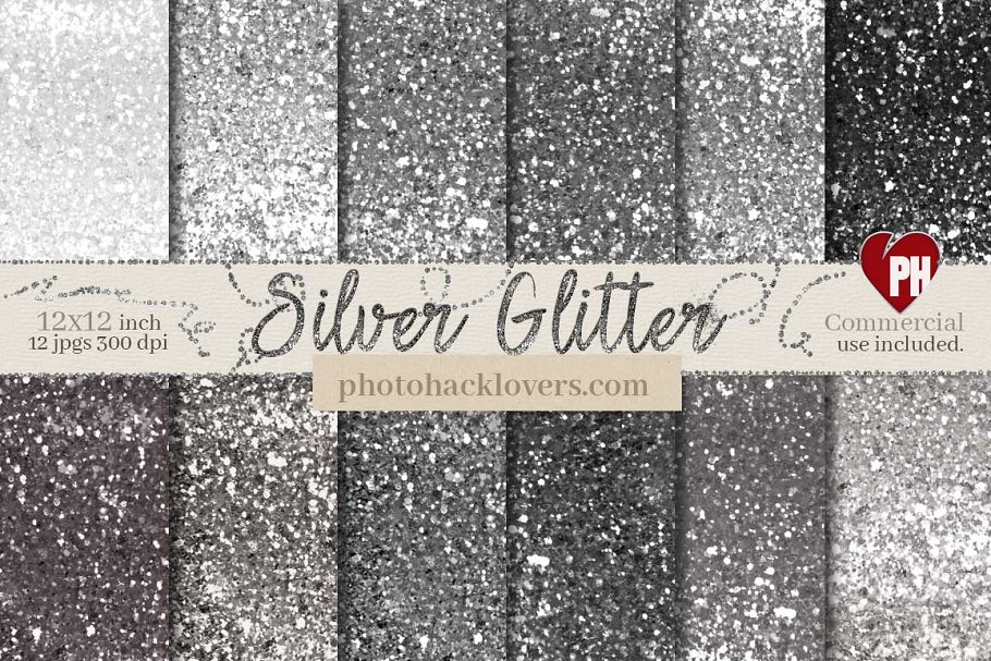 Silver Glitter Digital Paper in Textures - product preview 8