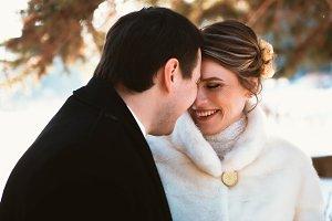 Winter bright wedding bride and groo