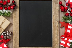 Christmas tree branches chalkboard