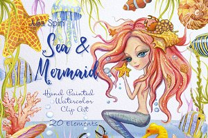 Sea & Mermaid Watercolor Clip Art
