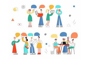 Vector cartoon woman and man talking