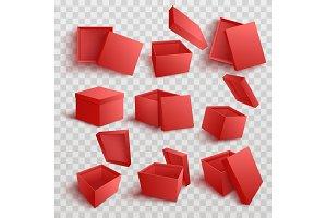 Vector white empty present box open