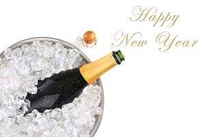 Champagne bottle in metal ice bucket