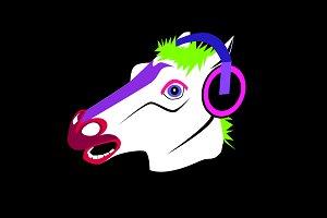 Funny horse head with headphones