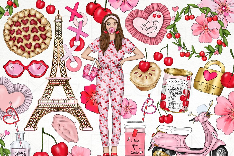 Cherry Love Fashion Girl Clip Art