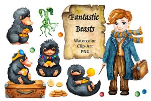Fantastic Beasts Watercolor Clip Art