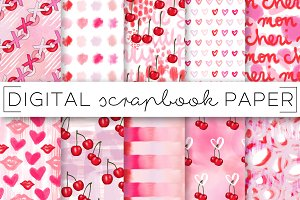 Cherry Hearts Abstract Paper Set