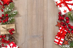 Christmas tree branches gifts red