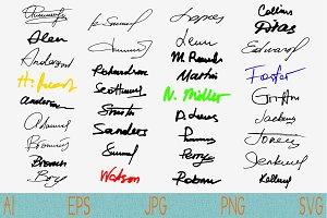 signatures set fictitious Autograph