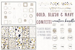 Gold, Blush & Navy Confetti Bundle