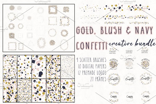 Gold, Blush & Navy Confetti Bundle