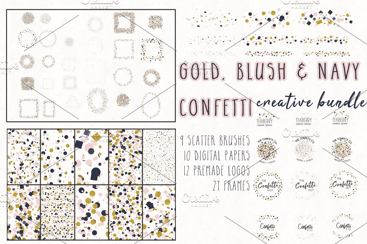 Gold, Blush & Navy Confetti Bundle in Objects - product preview 8
