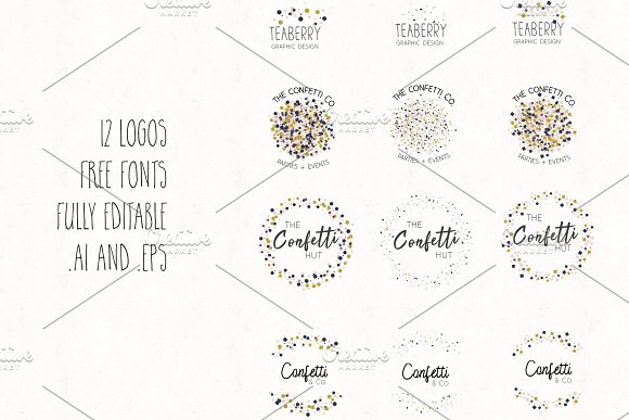 Gold, Blush & Navy Confetti Bundle in Objects - product preview 1