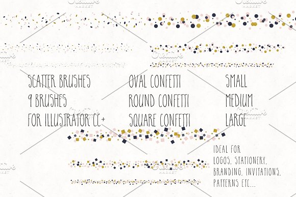 Gold, Blush & Navy Confetti Bundle in Objects - product preview 2