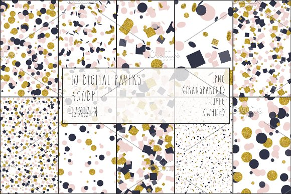 Gold, Blush & Navy Confetti Bundle in Objects - product preview 3