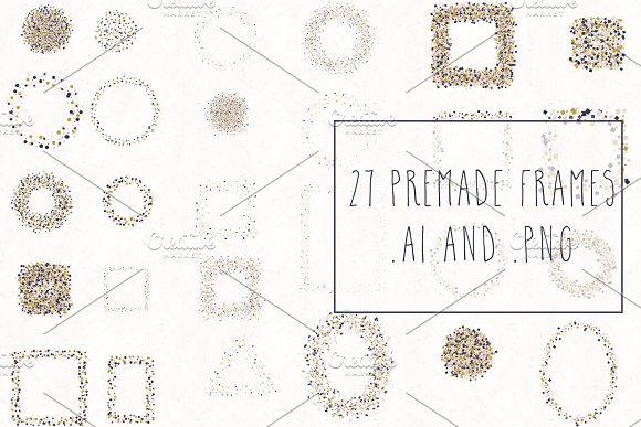 Gold, Blush & Navy Confetti Bundle in Objects - product preview 4
