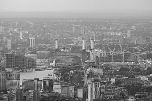 Aerial view of London in b&w