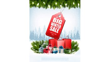 Winter Sale Tag on winter background