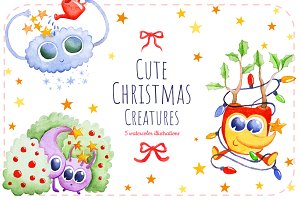Cute Christmas Creatures- Watercolor