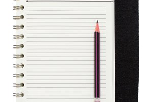 blank spiral notepad and pencil