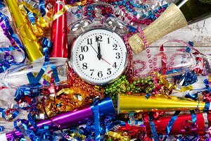 Happy New Year Celebration and Clock