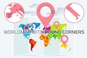 Flat World Map with Round Corners