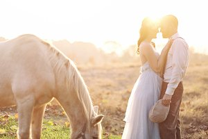 horse sunset wedding