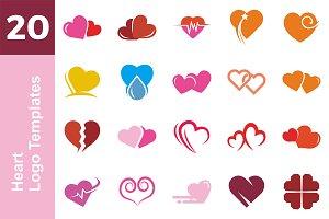 20 Logo HeartTemplates Bundle